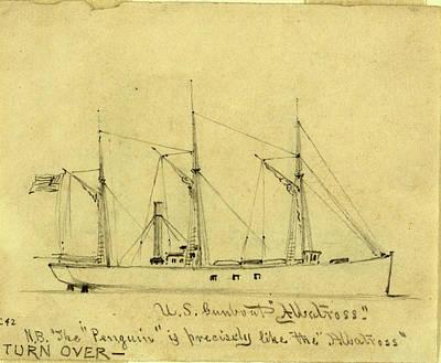 Albatross Drawing - U.s. Gunboat Albatross, Between 1860 And 1865 by Quint Lox
