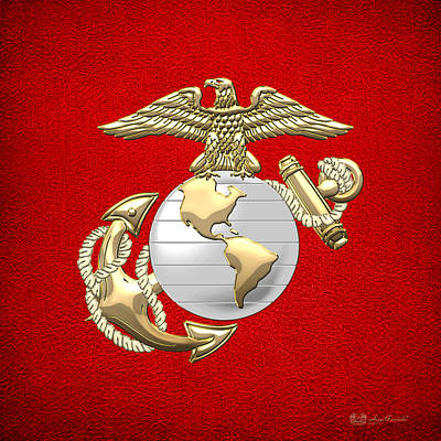 U. S. Marine Corps Eagle Globe And Anchor - E G A On Red Leather Print by Serge Averbukh