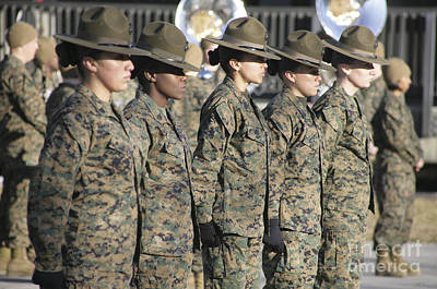 Camouflage Clothing Photograph - U.s. Marine Corps Female Drill by Stocktrek Images