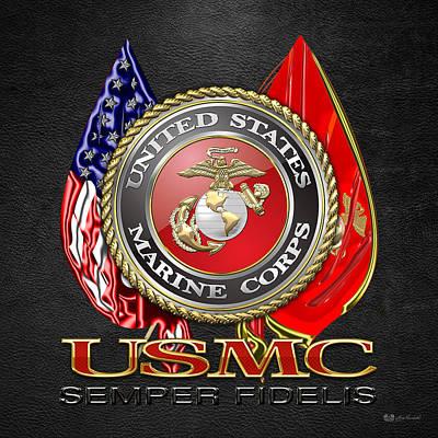 U. S. Marine Corps U S M C Emblem On Black Print by Serge Averbukh