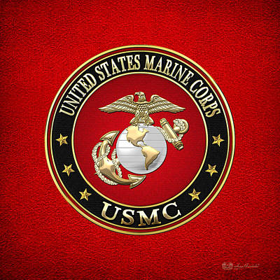 Badge Digital Art - U. S. Marine Corps - U S M C Emblem Special Edition by Serge Averbukh