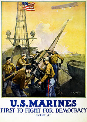 Artillery Painting - Us Marines by Leon Alaric Shafer