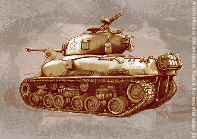 Stylized Mixed Media - Us Sherman Tank In World War 2 - Stylised Modern Drawing Art Sketch by Kim Wang