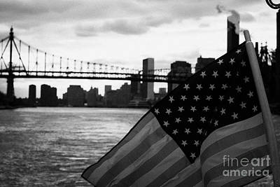 Us Stars And Stripes Flag Fluttering In The Wind East River New York City Print by Joe Fox