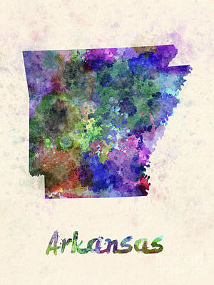 Us State In Watercolor Print by Pablo Romero