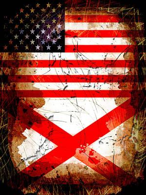 Bama Digital Art - Usa Alabama Grunge Flags by David G Paul