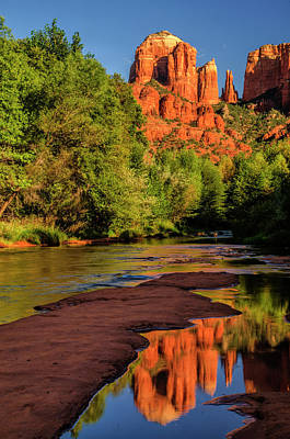Usa, Arizona Cathedral Rock Reflects Print by Jaynes Gallery