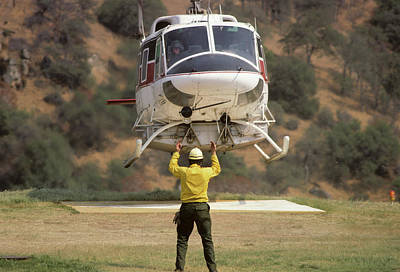 Usa, California, Fire Helicopter Print by Gerry Reynolds