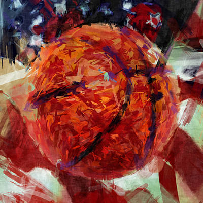 Usa Flag And Basketball Abstract Print by David G Paul