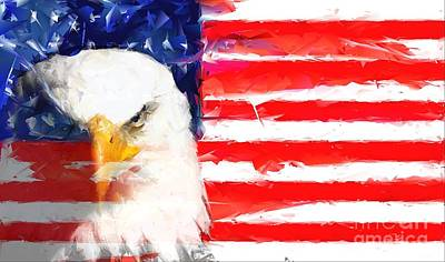 Star Spangled Banner Mixed Media - Usa Flag And Eagle by Brian Raggatt