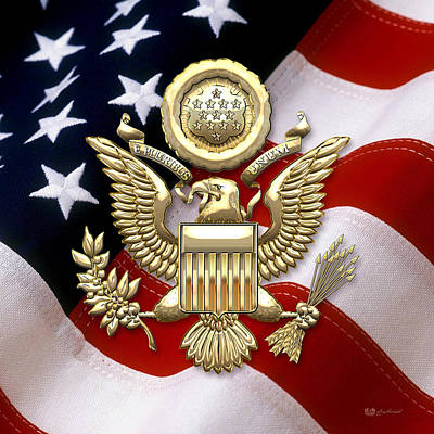 Coat Of Arms Digital Art - U.s.a. Great Seal In Gold Over American Flag  by Serge Averbukh