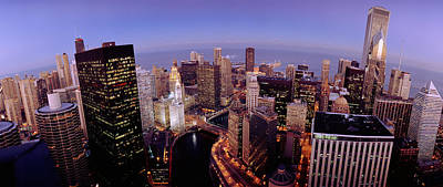 Rooftop Photograph - Usa, Illinois, Chicago, Chicago River by Panoramic Images