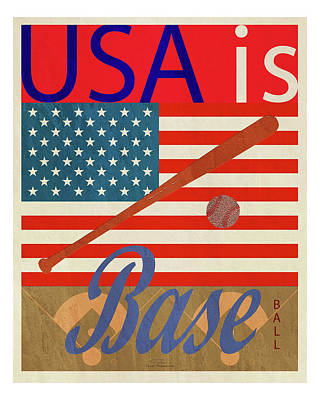 Blue And Red Drawing - Usa Is Baseball by Joost Hogervorst