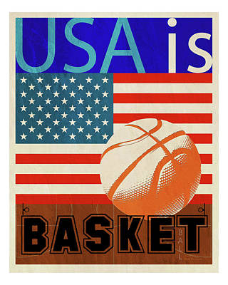 Blue And Red Drawing - Usa Is Basketball by Joost Hogervorst