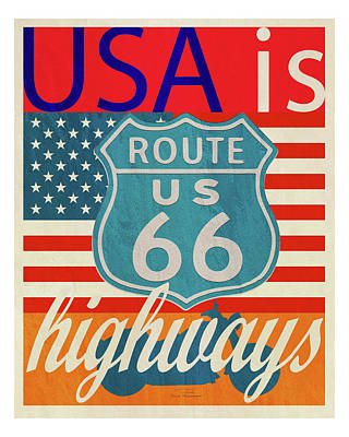 Blue And Red Drawing - Usa Is Highways by Joost Hogervorst