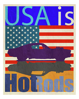Blue And Red Drawing - Usa Is Hot Rods by Joost Hogervorst