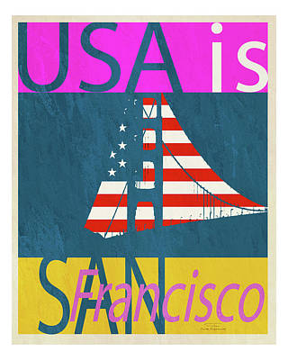 Blue And Red Drawing - Usa Is San Francisco by Joost Hogervorst