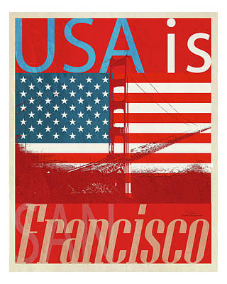 Blue And Red Drawing - Usa Is San Francisco Red by Joost Hogervorst