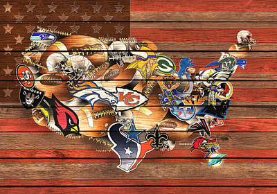Usa Nfl Map Collage 10 Print by Bekim Art