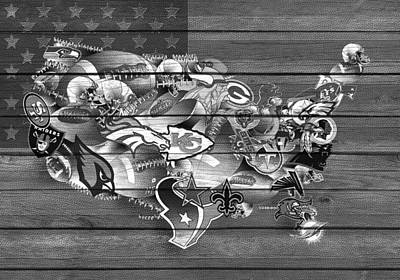 Usa Nfl Map Collage 11 Print by Bekim Art