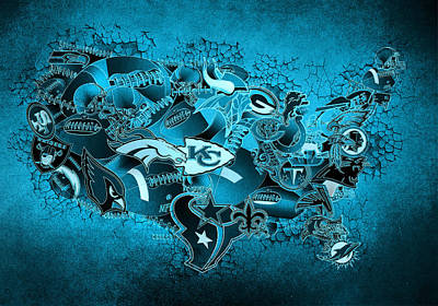Usa Nfl Map Collage 13 Print by Bekim Art