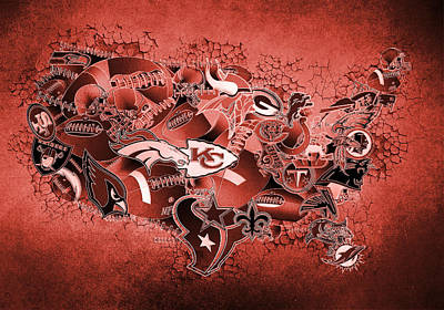 Usa Nfl Map Collage 14 Print by Bekim Art