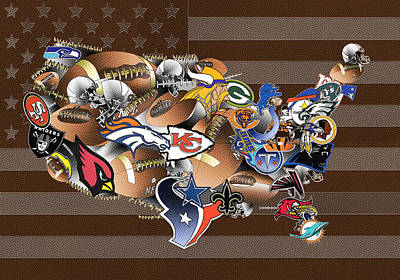 Abstract Digital Painting - Usa Nfl Map Collage 2 by Bekim Art