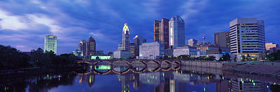 City Center Photograph - Usa, Ohio, Columbus, Scioto River by Panoramic Images