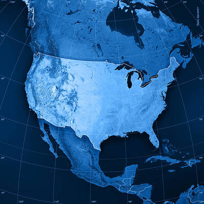 Geography Digital Art - Usa Topographic Map by Frank Ramspott