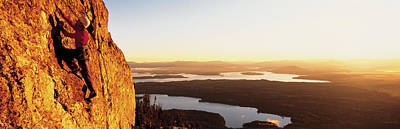 Overcoming Photograph - Usa, Wyoming, Grand Teton Park, Climber by Panoramic Images