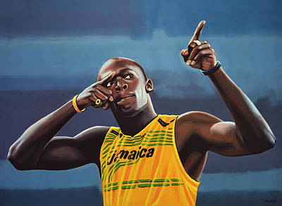 Usain Bolt Painting Print by Paul Meijering