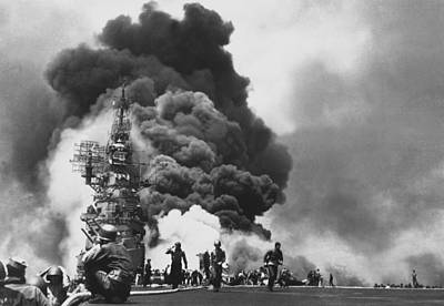 Carrier Photograph - Uss Bunker Hill Kamikaze Attack  by War Is Hell Store