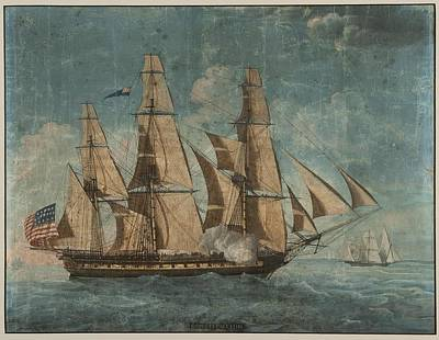 Usa Flag Painting - Uss Constitution 1803 by Celestial Images
