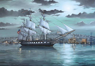 War Of 1812 Painting - Uss Constitution In Boston Harbor 1812 by Scott Hoarty
