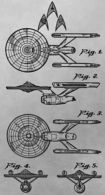Uss Enterprise Patent Illustration Print by Dan Sproul