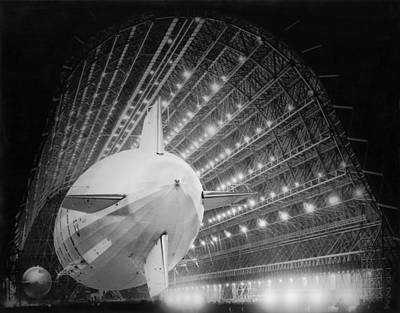 Hangar Photograph - Uss Macon In Hangar One by Underwood Archives