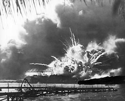 Uss Shaw Explodes Print by Underwood Archives