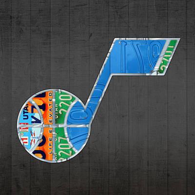 Utah Jazz Basketball Team Retro Logo Vintage Recycled License Plate Art Print by Design Turnpike