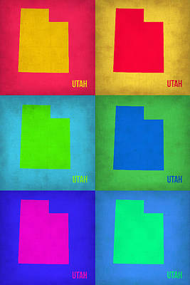 Utah Painting - Utah Pop Art Map 1 by Naxart Studio