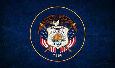 Flag Day Mixed Media - Utah State Flag On Canvas by Dan Sproul