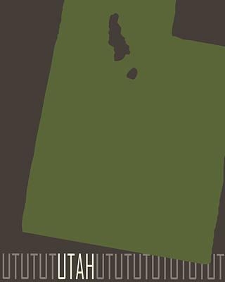 Color Block Digital Art - Utah State Modern by Flo Karp