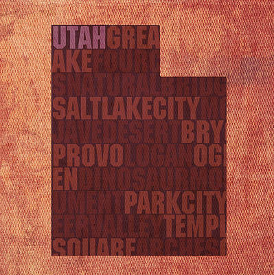 Mixed Media - Utah Word Art State Map On Canvas by Design Turnpike