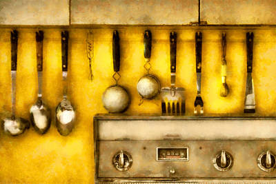 Suburban Digital Art - Utensils - The Kitchen  by Mike Savad