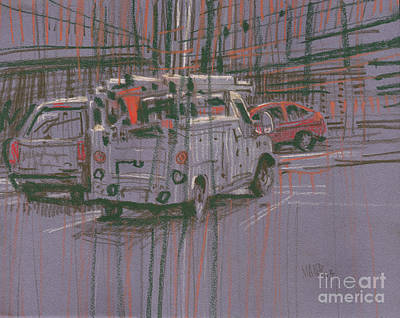 Truck Drawing - Utility Truck by Donald Maier
