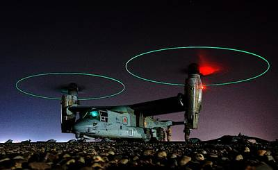 Osprey Mixed Media - V 22 Osprey Refueling Before Night Mission Central Iraq II by US Navy - L Brown