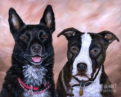 Cattle Dog Drawing - V And Lucky by Sharon Molinaro