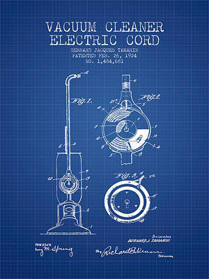 Vacuum Cleaner Electric Cord Patent From 1924 - Blueprint Print by Aged Pixel
