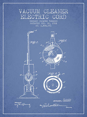 Vacuum Cleaner Electric Cord Patent From 1924 - Light Blue Print by Aged Pixel