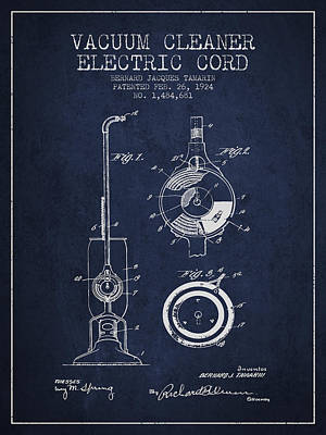 Vacuum Cleaner Electric Cord Patent From 1924 - Navy Blue Print by Aged Pixel