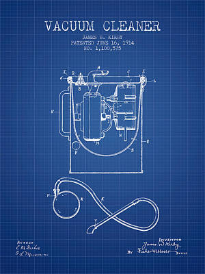 Vacuum Cleaner Patent From 1914 - Blueprint Print by Aged Pixel